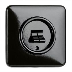 THPG juodas bakelito dvigubas jungiklis su kvadratiniu rėmeliu