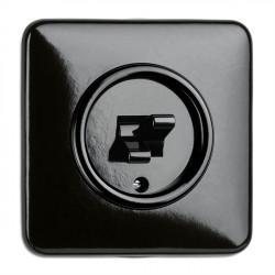 THPG juodas bakelito dvigubas jungiklis su keturkampiu rėmeliu