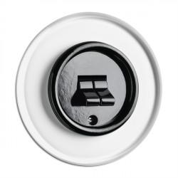 THPG juodas bakelito dvigubas jungiklis su stikliniu rėmeliu