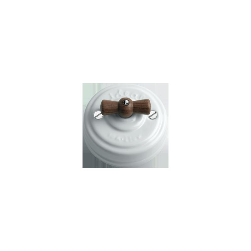 LLinasBCN virštinkinis sukamasis keraminis dviejų grupių jungiklis/ jungtukas su lakuota bubingos rankenėle